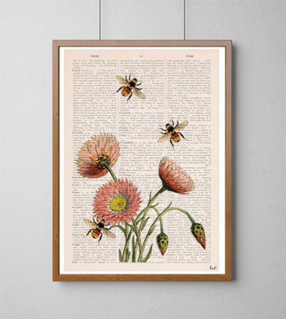 Spring Sale Bees and wild flowers Flower art, Eco Wall art poster, Spring celebration art, Giclee art decor PBB04