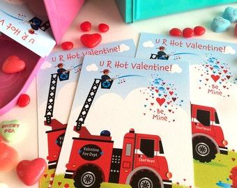 Fire Truck Valentine for Kids