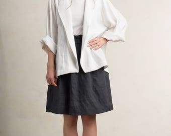 White linen jacket for woman, White linen blazer or cardigan, White linen women's clothing by LHI