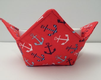 Anchors, Microwave Bowl Cozy, Bowl Holder, Potholder, Hot or Cold, Hot Pad, All Cotton, Red, Blue and White