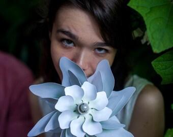 White Wedding Flower Double Petal Pinwheel Whirligig Windmill Spinner Fan