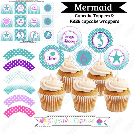 Ariel Inspired Cupcake Toppers Little Mermaid Birthday Party
