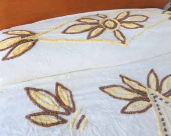 Yellow and Brown Chenille Bedspread on Cream Off White Full Double Size Cutter Fabric