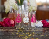 Bridesmaid gift idea, Stemless champagne flutes personalized with name and title Wedding day gifts, wedding party gift idea. Bridesmaid gift