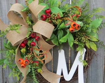 Spring / Summer / Fall Wreath - Wreath for All Year Round - Monogram Wreath,  Everyday Burlap Wreath with Letter, Door Wreath, Door wreaths