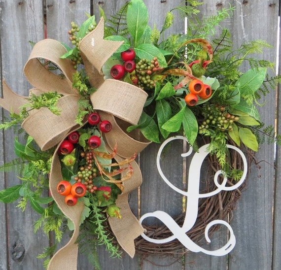 Spring Wreath, Spring Wreaths, Summer Wreath, Summer Wreaths, Fall Wreath, Fall Wreaths, Monogram Wreath, Burlap Wreath, Everyday Wreath