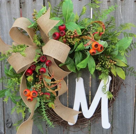Spring / Summer / Fall Wreath - Wreath for All Year Round - Monogram Wreath,  Everyday Burlap Wreath with Letter, Door Wreath, Door wreaths