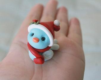 Polymer Clay Christmas Bird - Miniature Bird - Mini Clay Bird - Terrarium Accessory – Bird Sculpture – Garden Decoration