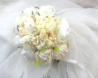 Bridal Bouquet, Garden Rose Peony   Romantic Bouquet, Ivory, White, Pale Pink fabric flowers Wedding Bouquet
