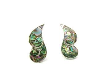 Abalone Earrings. Taxco Sterling Silver 950. Abstract Statement Earrings. Artisan Made Signed ER. Vintage 1950s Mid Century Mexican Jewelry