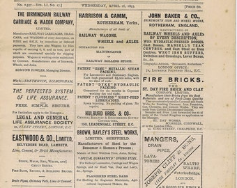 Antique Vintage 19thc Railway Record Newspaper History Transportaion Trains Trams Ads Paper Ephemera