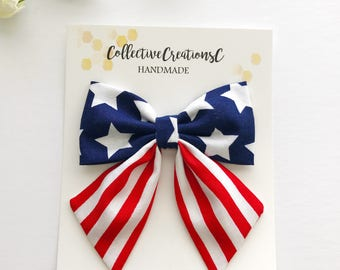 4th of July Bow Clip - July 4th Sailor Bow - Flag Bow - Patriotic Hair Bow - Stars and Stripes Bow - Sailor Bow Clip - Oversized Sailor Bow