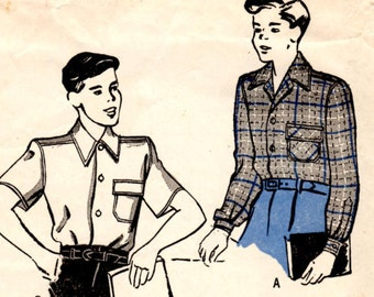 1946 Butterick 3852 Size 4 Chest 23 Boys Sport Shirt Sewing Pattern Supply Classic 40s Shirt Long Sleeves Short Sleeves Turn Down Collar c
