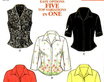 New Look 6952 Size 8 to18 Misses Five Top Variations Tailored Blouse Sewing Pattern Supply Misses Blouse Pattern Vest Pattern ff