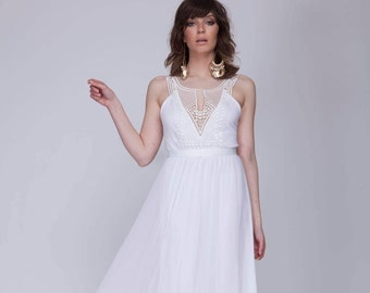 Boho wedding dress, wedding dress, simple wedding dress, Barzelai wedding dress, embroidery wedding dress, open back wedding dress