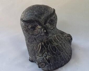 Wolf Original Sculpture Owl Soapstone Figurine