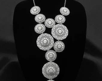 Statement bib necklace, silver tone filigree bib necklace