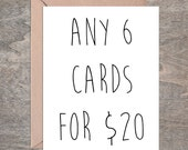 GREETING CARD SET, Chose any 6  cards for 20, Blank Cards, Greeting Cards Stationery Set, birthday, wedding, anniversary, thank you