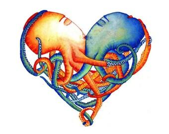 OCTOPUS HEART - Art Print - Octopuses, wedding, anniversary, gift, octopi, illustration, nautical, heart art, home decor, nursery art
