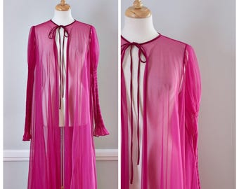 Vintage 70s Sheer Dressing Gown / Designer Ralph Montenero For Blanche Peignoir / Size Small