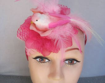 Peachy Pink Lacy Organza Peony n Pastel Feathers n Bird Fascinator