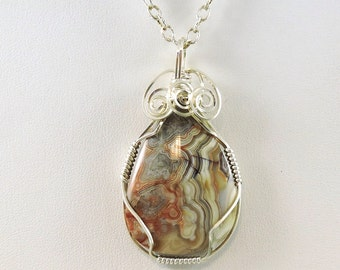 Laguna Lace Agate Necklace, Gemstone Necklace, Wire Wrapped Agate, Gemstone Jewelry