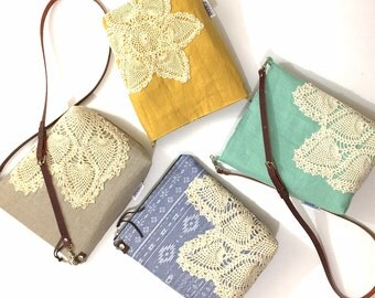 Linen Crossbody Purse with Adjustable Leather Strap