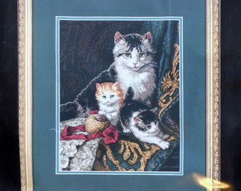 Dimensions Gold Collection CAPTIVATING FELINES Counted Cross Stitch Kit By Henriette Ronner-Knip