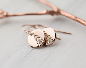 Tiny Leaf Earrings Rose Gold Filled, Mother's Day from Daughter, for Mother, Hand Stamped Jewelry Gift for Her, Rose Gold Dangle Earrings