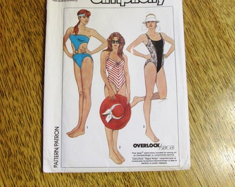 SEXY 1980's One-Piece Bathing Suit / Peek a Boo / Halter Style - Size (6 - 8 - 10) - UNCUT Vintage Sewing Pattern Simplicity 8633