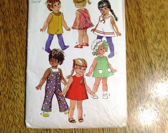 """Vintage 1960's CUTE 16"""" - 18"""" Doll Wardrobe - (A-Line Dress, Coveralls, Panties, Apron & Hat) - UNCUT ff Sewing Pattern Simplicity 8561"""