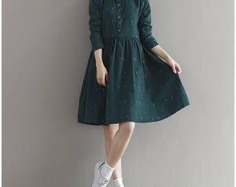 All sizes Handmade Corduroy Dress, Green Dress, Vintage dress, Pockets dress, Plus size dress, Wood buttons dress, long sleeve dress