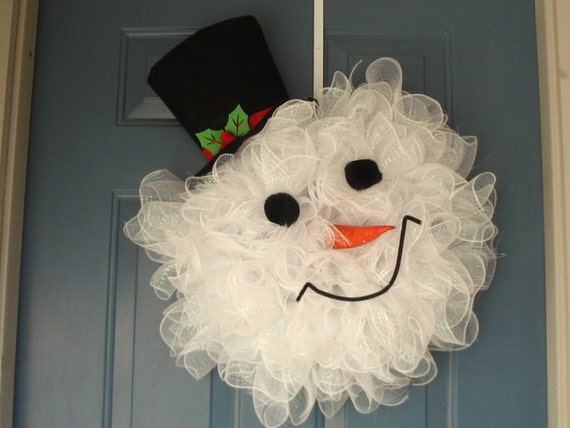 Cute Snowman Decomesh wreath