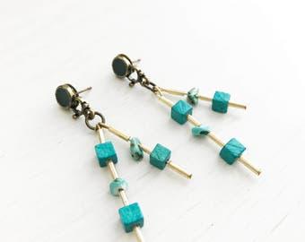 Fiona Earrings // Turquoise Semi Precious Stones