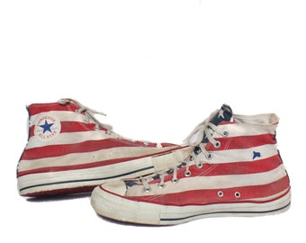 12 | Men's Vintage Chuck Taylor Converse American Flag Hi Tops Made in the USA