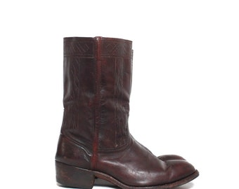 11 C/A | Vintage Johnston & Murphy Stovepipe Western Style Dress Boots in Brown Leather Ruidoso Collection