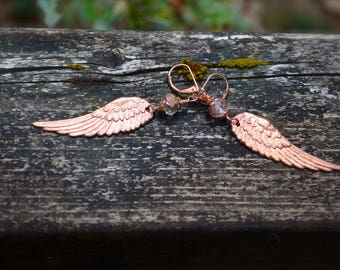 Cherub Wings Earrings handmade rose gold tone brass wings with carved Czech glass rose bead unique jewelry gift