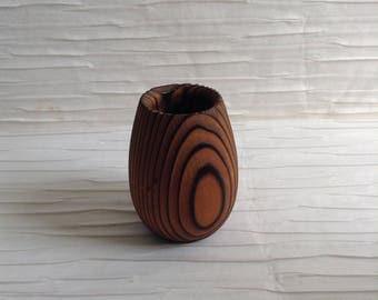 Cryptomeria Wood Toothpick Holder. Modernist carved cryptomeria wood.  Vintage 1970