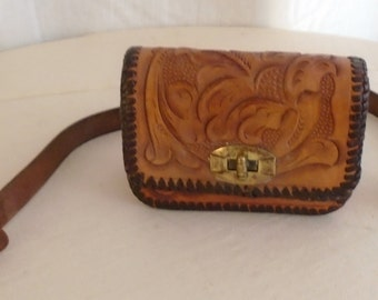 Vintage Purse 1950's Tooled Leather Mini Purse Brown Whipstitched Western