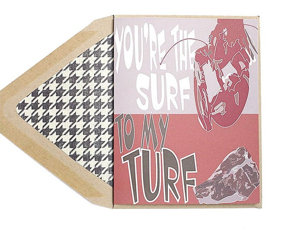 You're The Surf To My Turf Lobster Steak - Valentines Card, Love, Foodie, Anniversary Card