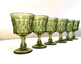 Noritake Perspective Green Cordial Glasses / Vintage Avocado Green Small Wine Glasses / Depression Glass Set / Set of 6 Sherry Glasses