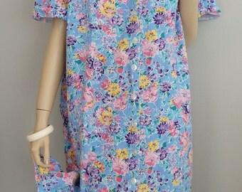 70s vintage Cotton Floral Print slouchy house Dress M