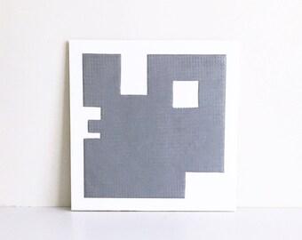 "Fine Art Etching . Minimalist. SilverPrint: ""Intersection 6"".  Size 13"""" x 13"". unframed"