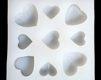 "HEART RESIN MOLD, Silicone Mold to make heart shaped pendants, reusable, 3-5/8"" square makes 9 heart shapes, tol0693"