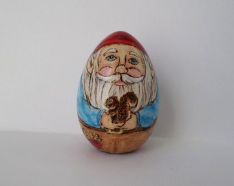 Gnome Easter egg, decorated egg, gnome paperweight , wood egg, garden gnome, pyrography, wood burning