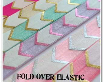 2 Metres of Fold Over Elastic - Large Metallic Chevron