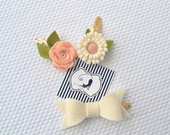 Hair clips with felt flower and felt bow / Handmade with 100% Wool Felt / Birthday gift hairclip set / Baby Girl Accessories