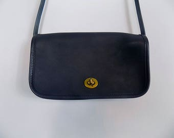 Dark Navy Coach Purse - Small Cross Body Shoulder Bag - Vintage Coach Leather