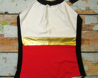 SALE Modern Color Block One-Piece Swimsuit - Retro Inspired - Bold Halter Bathing Suit - Size SMALL 4/6