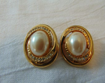 vintage givenchy clip on earrings crystal pearl gold bold signed